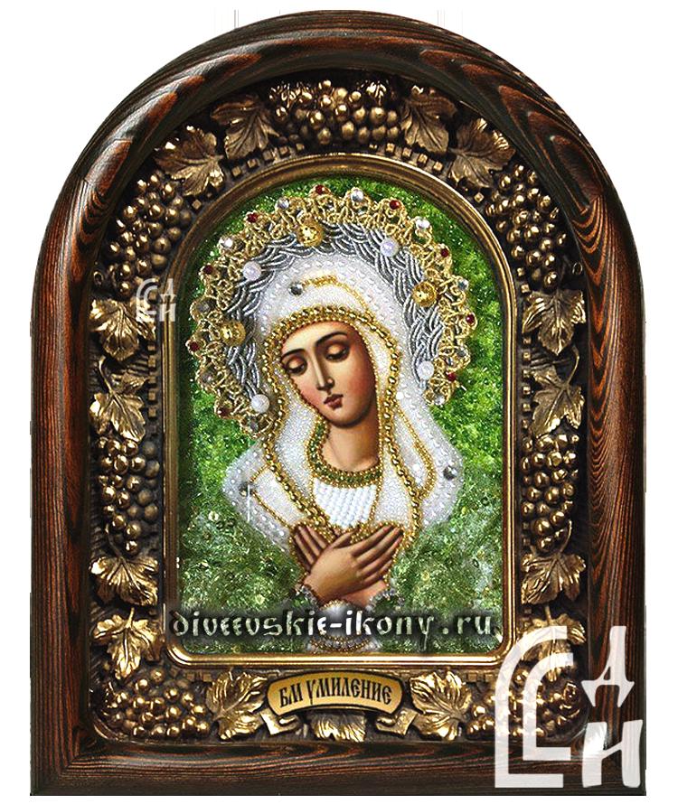 Икона Божией Матери Умиление в зелёном бисером