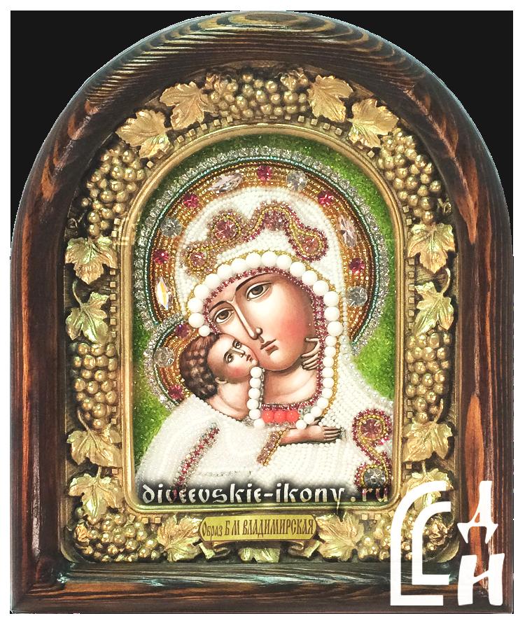 Икона Божией Матери Владимирская бисером