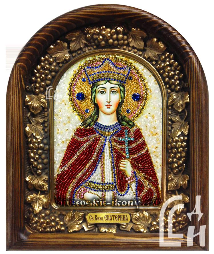 Святая Великомученица Екатерина икона из бисера