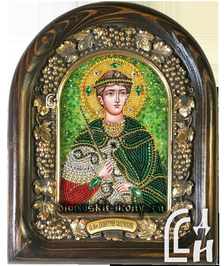 Икона бисером Дмитрия Солунского