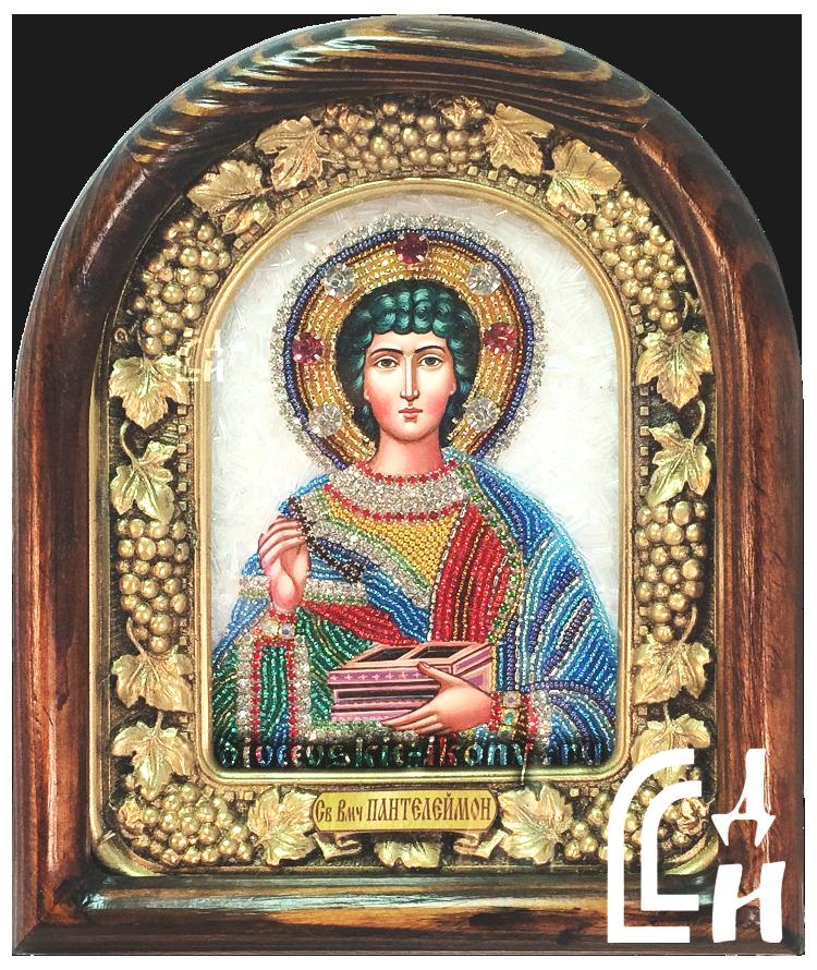 Икона Пантелеймона бисером