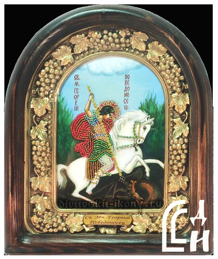 Икона Святой Георгий Победоносец бисером