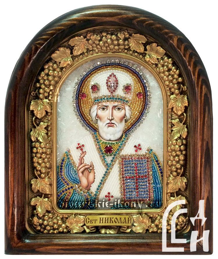 Николай Чудотворец икона из бисера