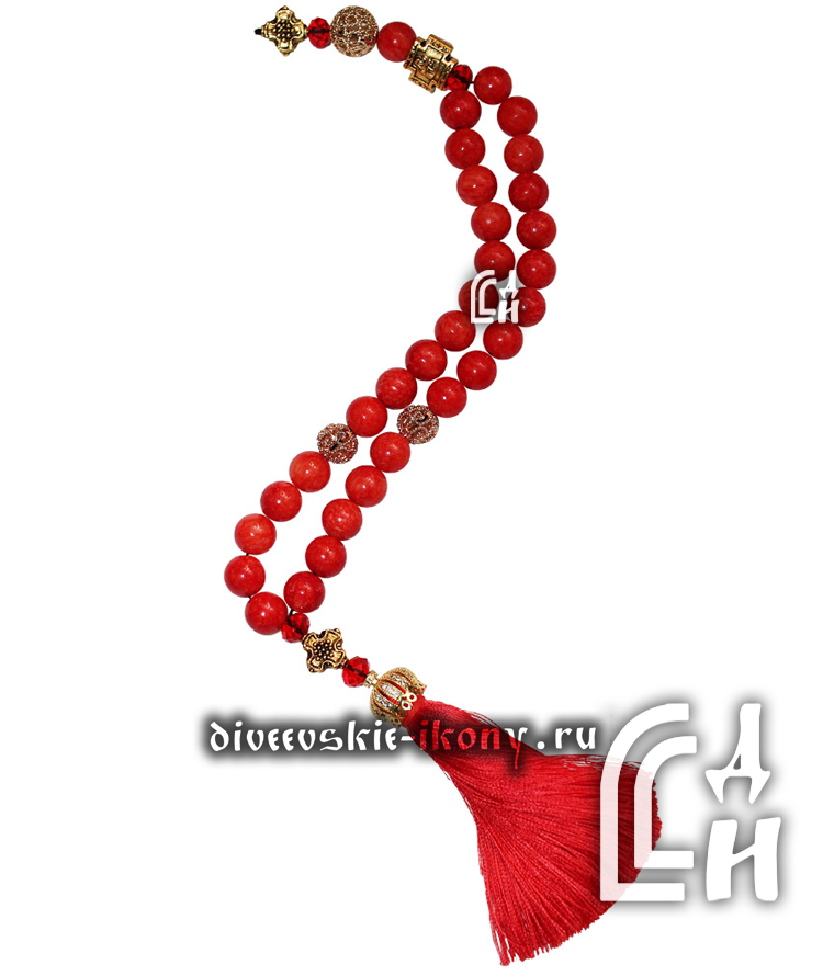 Чётки коралловые красные с кисточкой 30 бусин