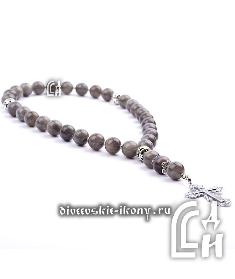 Чётки из камня лабрадор серые с крестом 30 бусин