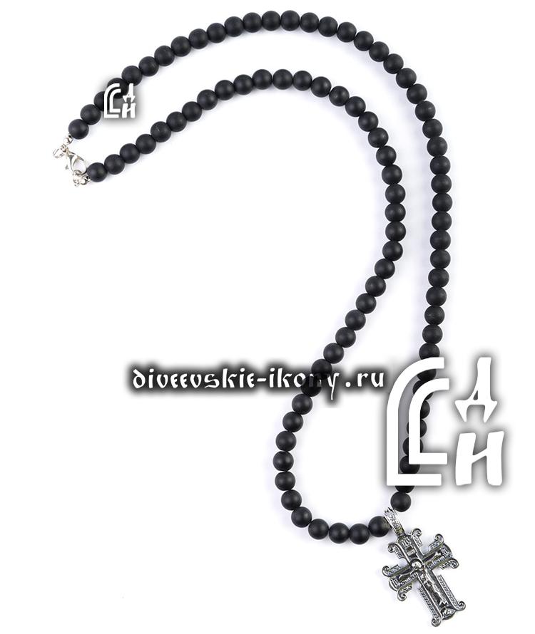 Чётки из шунгита с крестом 100 бусин