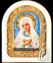 Икона из бисера Божией Матери Умиление в белом киоте