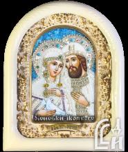 Дивеевская икона Святых Благоверных Пётра и Февронии с голубем в белом киоте