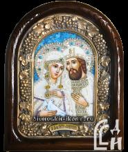 Дивеевская икона Святых Благоверных Пётра и Февронии с голубем