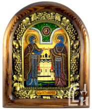 Икона Петра и Февронии из бисера