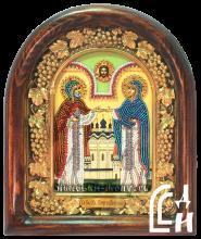 Икона Петра и Февронии бисером