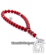 Чётки из сердолика красные с крестом 30 бусин