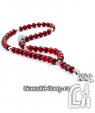 Чётки из сердолика красные с крестом 50 бусин